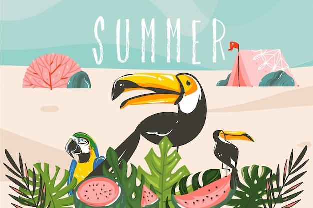 Illustrazione grafica di riserva dell'estratto disegnato a mano con uccelli e foglie tropicali, tenda del campo nel paesaggio della spiaggia dell'oceano e tipografia di estate isolata su fondo blu