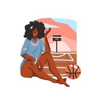 Illustrazione grafica di riserva piana disegnata a mano con giovane femmina afroamericana nera felice felice di bellezza che si siede sulla scena del campo da pallacanestro della via, isolata su fondo bianco