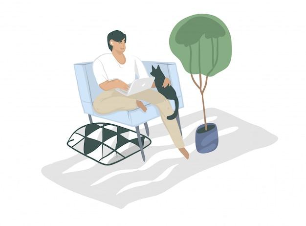 Illustrazione grafica disegnata a mano del fumetto con il carattere dell'uomo di colore, free lance che lavorano a casa con il computer portatile e che si siedono in poltrona con il gatto isolato