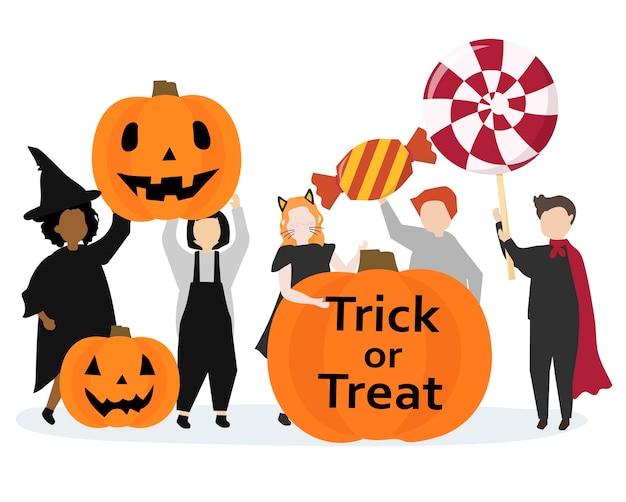 Illustrazione grafica felice festivo di halloween