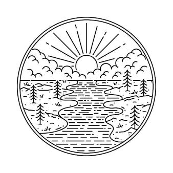 Illustrazione grafica selvaggia del fiume della natura