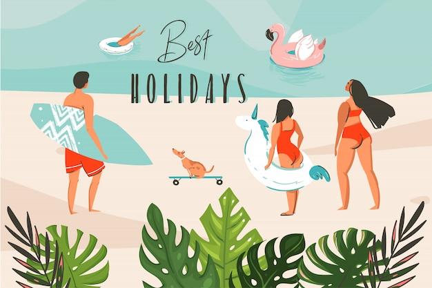Illustrazione grafica stock astratta disegnata a mano con foglie tropicali, gruppo di persone praticanti il surfing nel paesaggio della spiaggia dell'oceano e tipografia di migliori vacanze isolato su fondo blu