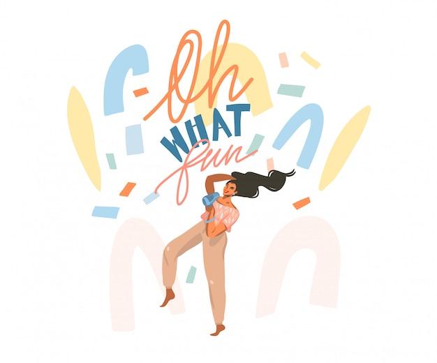 Illustrazione grafica stock astratta disegnata a mano con la giovane femmina felice asciuga i capelli, con un asciugacapelli e balla a casa e coriandoli astratti, oh che divertente scritta su sfondo bianco.