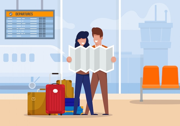 Illustrazione i turisti esplorano la rotta all'aeroporto.