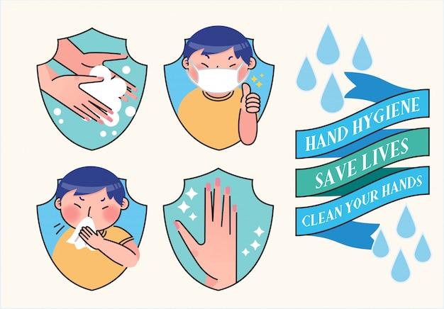 Illustrazione igienica dell'igiene delle mani di lavaggio