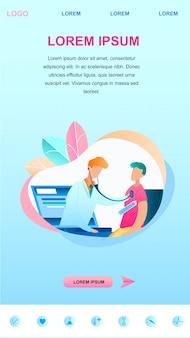 Illustrazione il dottore maschio esamina il paziente online