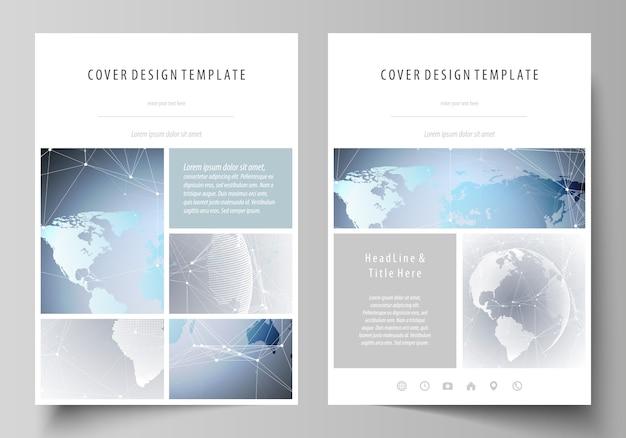 Illustrazione il layout del formato a4 copre i modelli per brochure, riviste, flyer, libretti, report. tecnologia . struttura della molecola, collegamento.