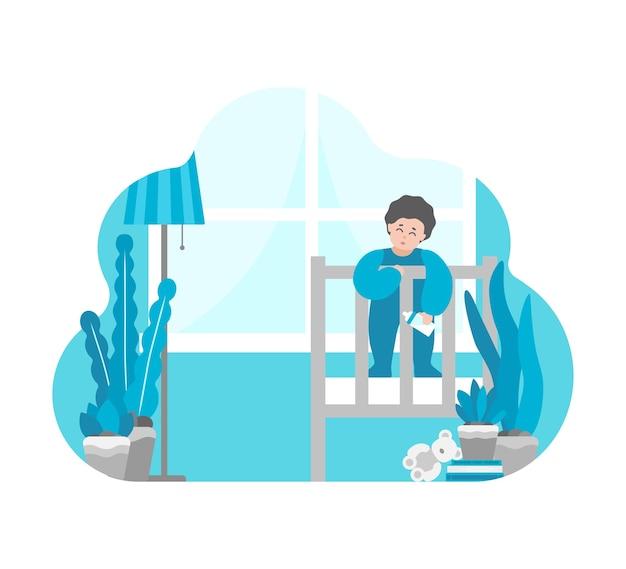 Illustrazione illustrazione. il bambino soggiorna in culla.