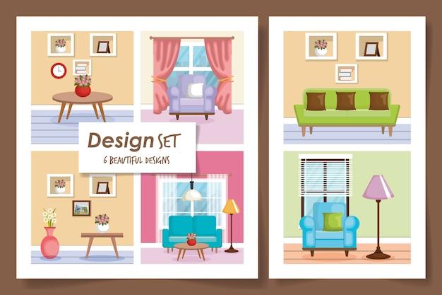 Illustrazione imposta scene interni della casa