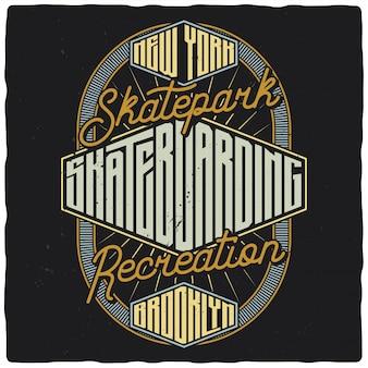 Illustrazione impressionante dell'etichetta di skateboard