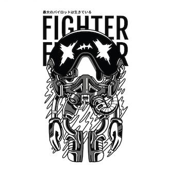 Illustrazione in bianco e nero del combattente pilota