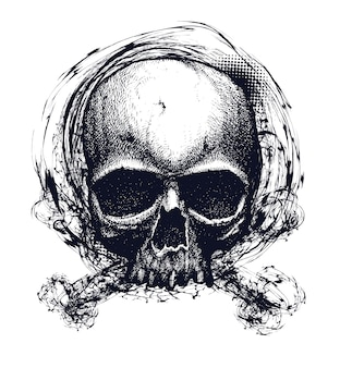 Illustrazione in bianco e nero del cranio umano