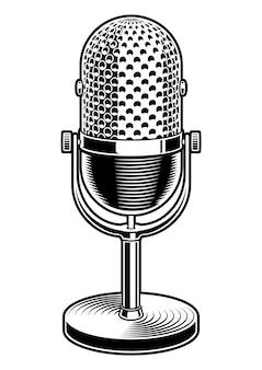 Illustrazione in bianco e nero del microfono su sfondo bianco.