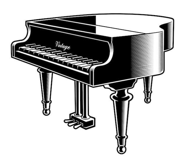 Illustrazione in bianco e nero del pianoforte su sfondo bianco.