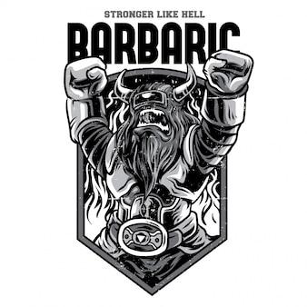 Illustrazione in bianco e nero del robot barbaro