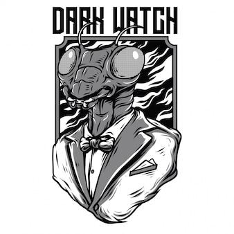 Illustrazione in bianco e nero dell'orologio scuro