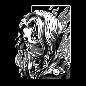 Illustrazione in bianco e nero della ragazza rossa
