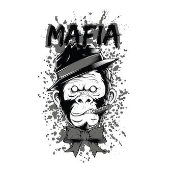 Illustrazione in bianco e nero della scimmia della mafia del fumatore