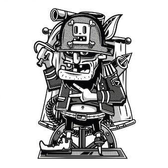 Illustrazione in bianco e nero di pirati