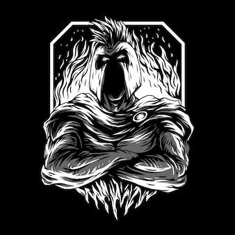 Illustrazione in bianco e nero di super spartan rimasterizzata