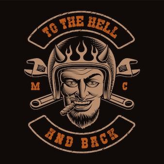 Illustrazione in bianco e nero di un motociclista del diavolo
