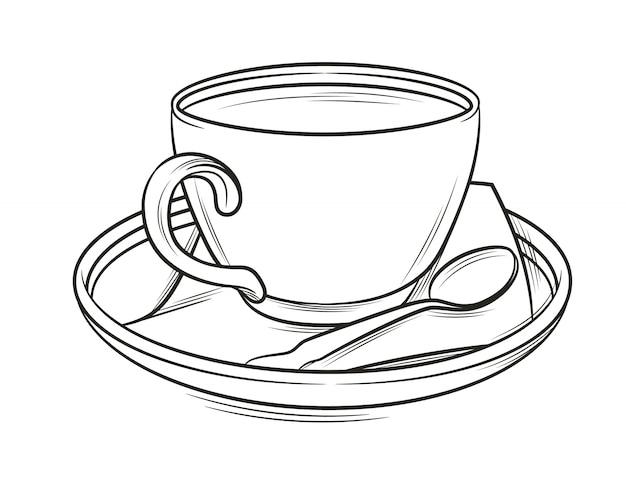 Illustrazione in bianco e nero di una tazza di caffè con piatto e cucchiaio