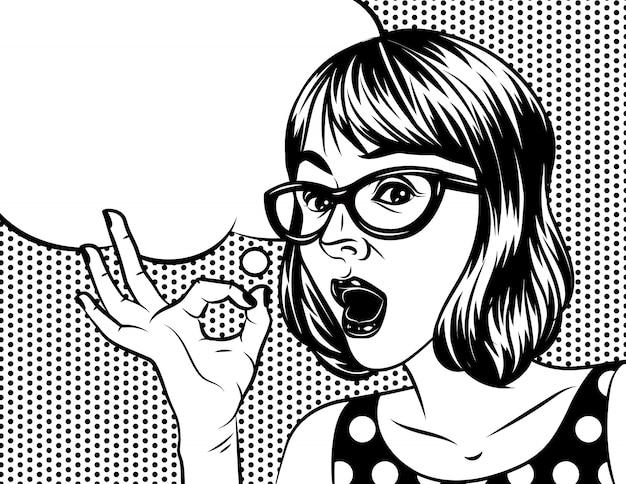 Illustrazione in bianco e nero in stile fumetto arte della bella donna con la faccia sorpresa. una donna con gli occhiali tiene una mano e mostrando il segno ok.