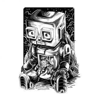 Illustrazione in bianco e nero rimasterizzata maledetta robot