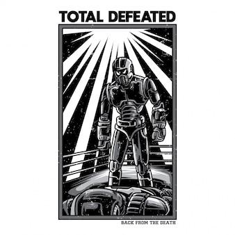 Illustrazione in bianco e nero sconfitta totale
