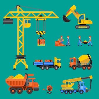 Illustrazione in costruzione di costruzione di tecnica della costruzione di edifici dei lavoratori e della gru. costruttori di camion miscelatori persone. concetto in costruzione. lavoratori in macchina di tecnologia del casco isolata