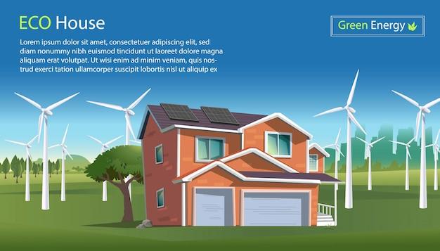 Illustrazione in stile piatto di una casa ecologica con pannelli solari sul tetto, energia eolica con turbine eoliche su uno scenario verde. concetto industriale di energia di energia di energia eolica. energia pulita.