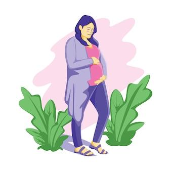 Illustrazione incinta della madre