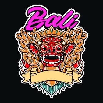Illustrazione indonesiana della cultura della maschera tradizionale di barong bali