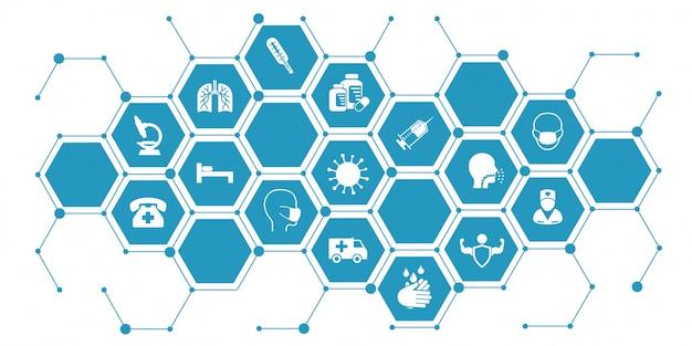 Illustrazione infografica coronavirus. il concetto con le icone protettive dell'antivirus si è riferito al coronavirus, infezione dalla porcellana
