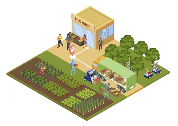 Illustrazione informazionale di vettore del negozio di eco del manifesto.