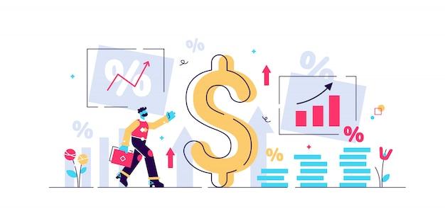 Illustrazione inion. concetto di persona minuscola con termine economico di base. recessione del valore monetario e processo di aumento dei prezzi. crisi del rischio del mercato finanziario in percentuale. valore nominale instabile