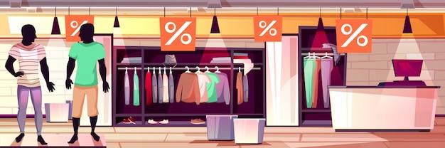 Illustrazione interna del boutique di modo di abbigliamento maschile della vendita dei vestiti degli uomini.