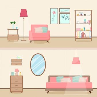 Illustrazione interna del salone moderno di stile piano colorato.