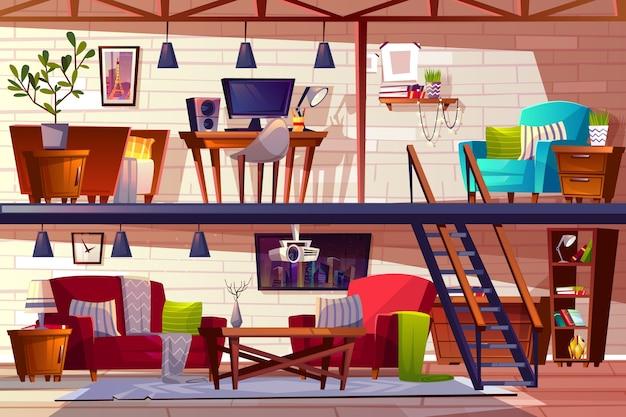 Illustrazione interna del salotto del sottotetto di due appartamenti spaziosi moderni accoglienti di due piani.