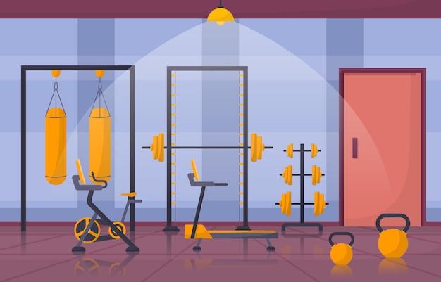 Illustrazione interna dell'attrezzatura di culturismo del peso di forma fisica del club di sport del centro della palestra