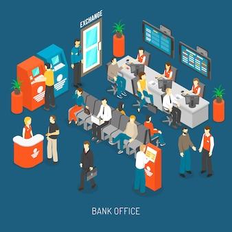 Illustrazione interna dell'ufficio della banca