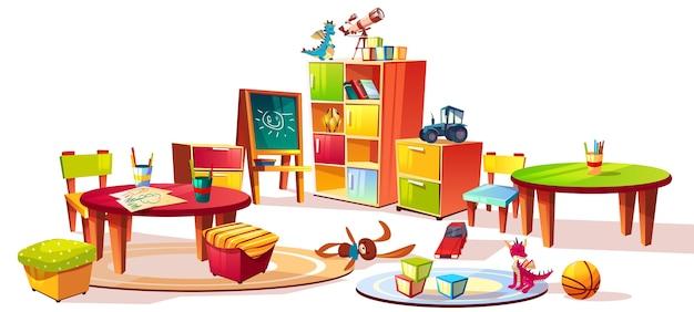 Illustrazione interna della mobilia di asilo dei cassetti della stanza del bambino prescolare per i giocattoli