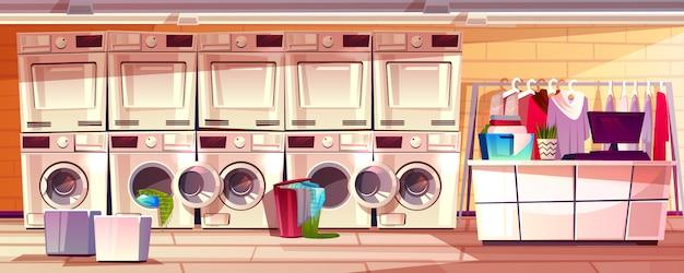 Illustrazione interna della stanza del negozio di lavanderia di lavanderia pubblica o di self service.