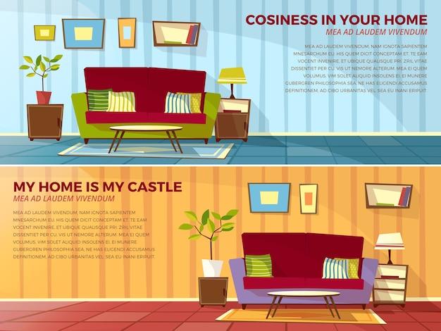 Illustrazione interna della stanza di vecchi o moderni appartamenti soggiorno con mobili.