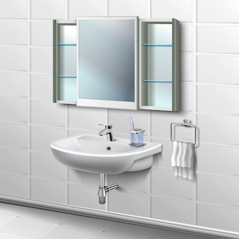Illustrazione interna delle piastrelle del bagno. lavandino in porcellana con rubinetto e asciugamano bianco sul lato sospeso e tazza con spazzole e specchio con mensole.
