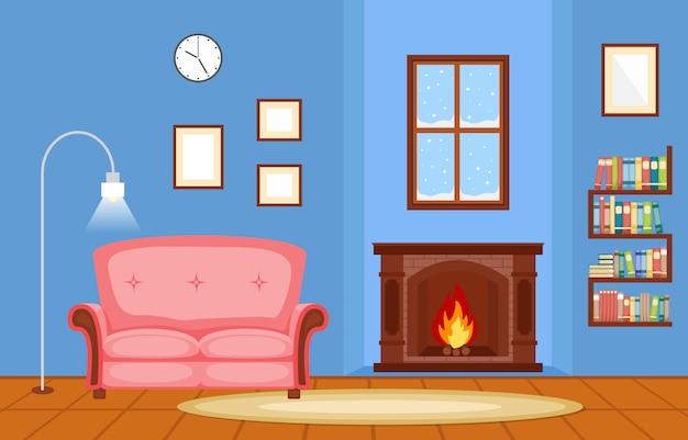 Illustrazione interna di vettore della mobilia della camera della famiglia del salone del camino