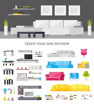 Illustrazione interna domestica e insieme di mobilia