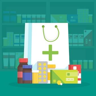 Illustrazione interna moderna della farmacia e della farmacia