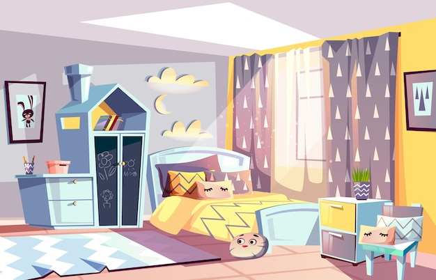 Illustrazione interna moderna della stanza dei bambini della mobilia della camera da letto nello stile scandinavo.