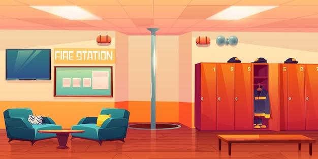 Illustrazione interna vuota del posto di lavoro dei pompieri della caserma dei pompieri